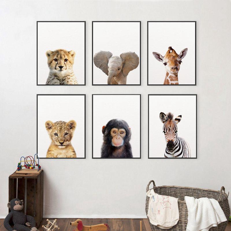 HTB16bI9XlmWBuNkSndVq6AsApXap Lion Zebra Elephant Giraffe Baby Animals Art Print Poster, Safari Animals Picture Canvas Painting Kids Room Nursery Wall Decor
