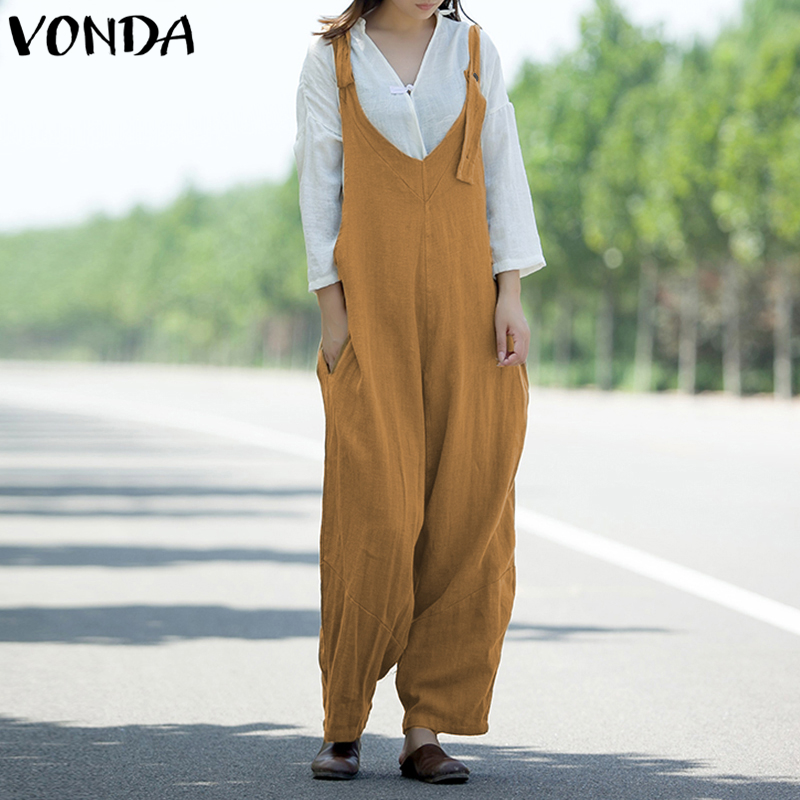 Rompers Womens   Jumpsuit   2019 Autumn Casual Loose Long Playsuits Solid Sexy V Neck Vintage Cotton Overalls Plus Size Coveralls