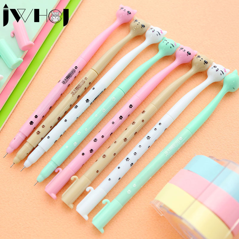 4 pcs/lot cute cartoon cat gel pen kawaii stationery pens canetas material escolar office school supplies papelaria lapices erasable pen kawaii stationary material escolar boligrafo gel penne cute canetas floral caneta stylo borrable cancellabi