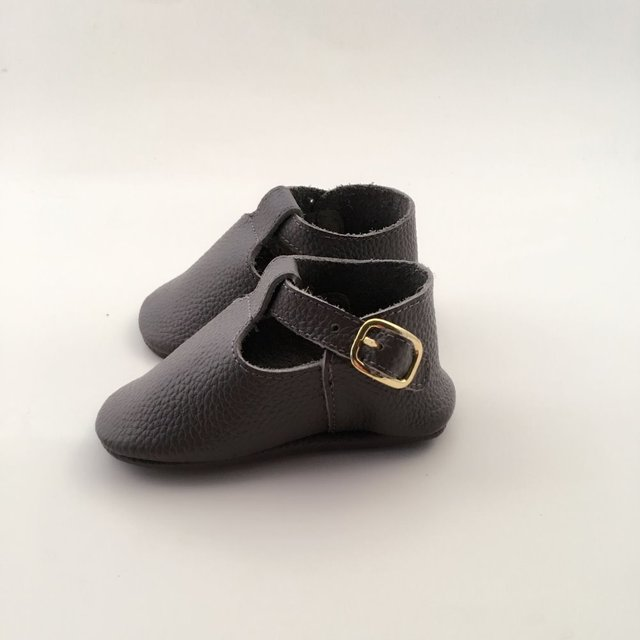 Dark grey  Geninue Leather Infant Bow Shoes Handmade Baby Shoes