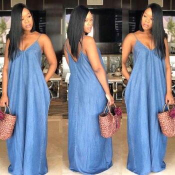2019 Fashion Women Lady Boho Backless Summer Long Denim Maxi Dress Women Jean Dresses Loose Strapless Vestidos Plus Size S-XXXL 4