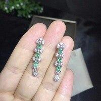 Natural emerald earrings, multiple gemstones, crystals, natural gem store, 925 sterling silver
