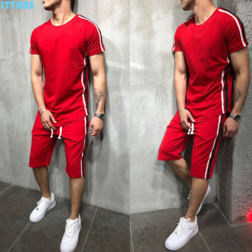 Men Summer Sportswear Jogging T-Shirt Tee Top Shorts Pants Tracksuits Set Suits 2019 Spring Autumn