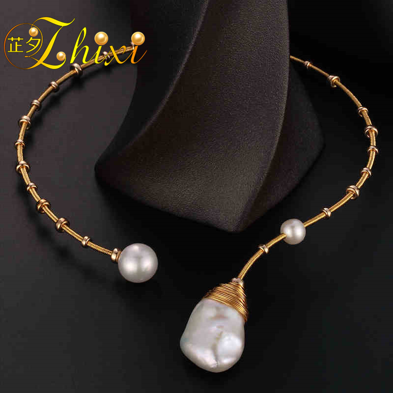 ZHIXI Baroque Pearl Torques Necklace Fine Jewelry Real Pearl Big Pearl Necklace Women Wedding Trendy Party Jewelry X319ZHIXI Baroque Pearl Torques Necklace Fine Jewelry Real Pearl Big Pearl Necklace Women Wedding Trendy Party Jewelry X319