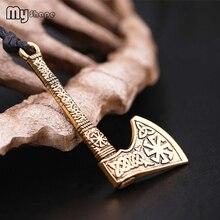 Моя форма талисман Ax Anqitue Серебро Золото солнце колесо амулет винтажные узлы Викинг топор подвески скандинавские восковое ожерелье для мужчин