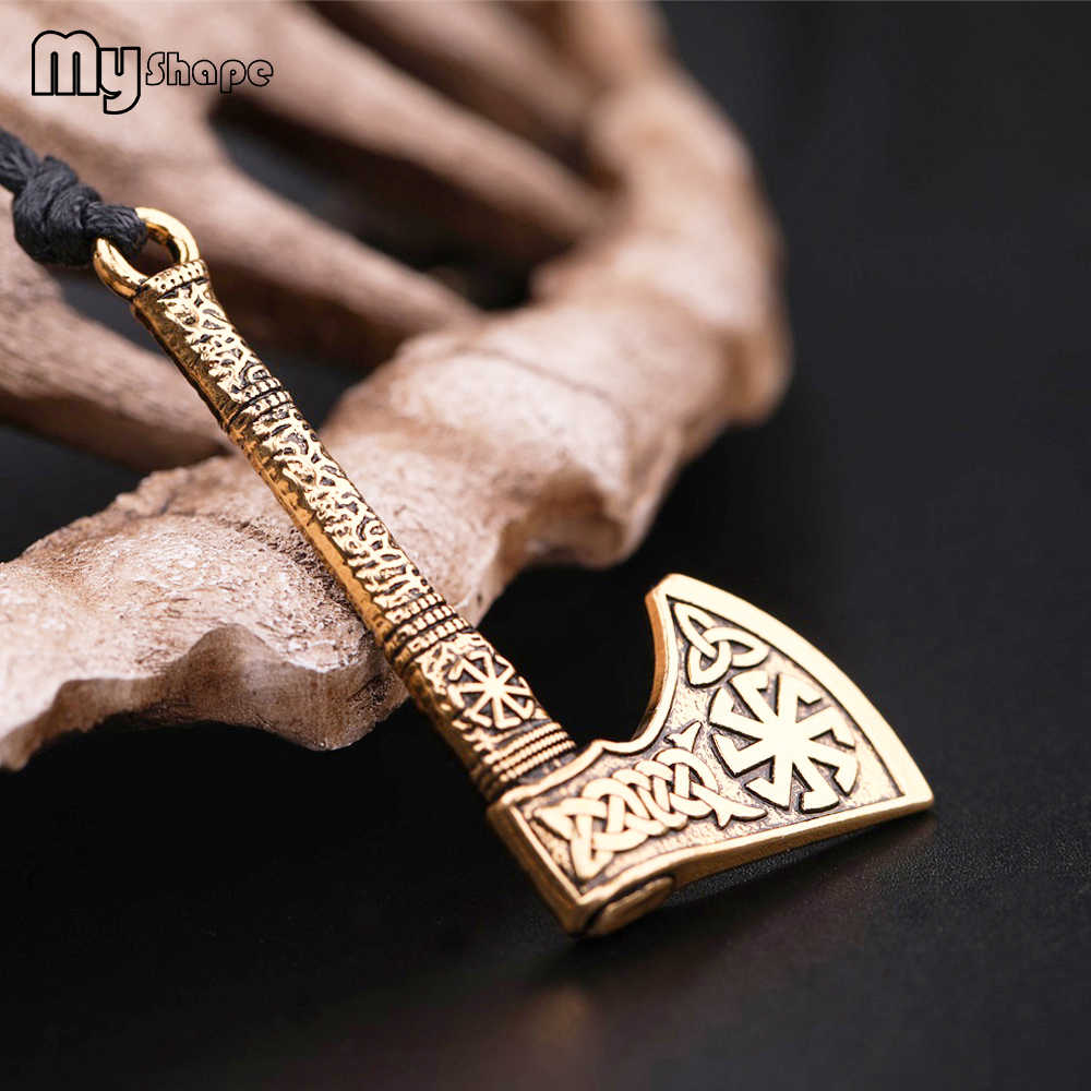 My shape Talisman Ax Anqitue Silver Gold Sun Wheel Amulet Vintage Knots Viking Axe Pendants Norse Wax Necklace for Men Male