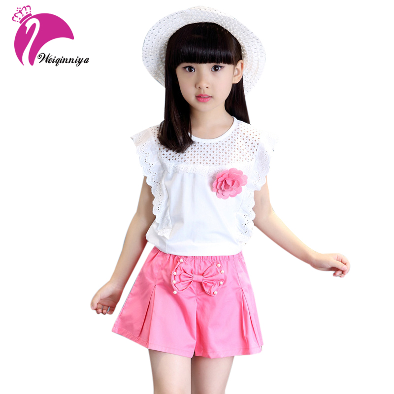 Girls Clothing Sets 2017 Brand Summer Style Kids Clothing Sets Sleeveless White T-shirt+Pink Pants 2Pc Girls Suit