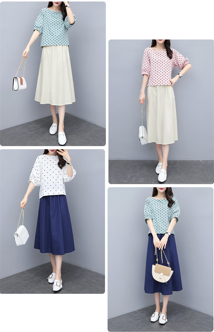 S-3xl Summer Cotton Linen Korean Women Two Piece Outfits Sets Plus Size Dot Print Tops And A-line Skirt Suits Casual Office Sets 51