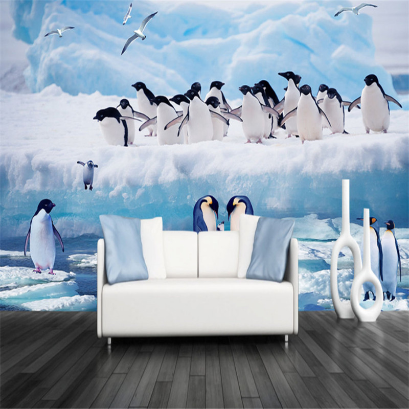 custom modern 3d photo high quality non-woven mural wallpaper 3d wallpaper penguin tv sofa background wall for kids' room modern home deco fashion 3d stereo romantic style mural wallpaper for wall dec tv sofa bed background no ai59