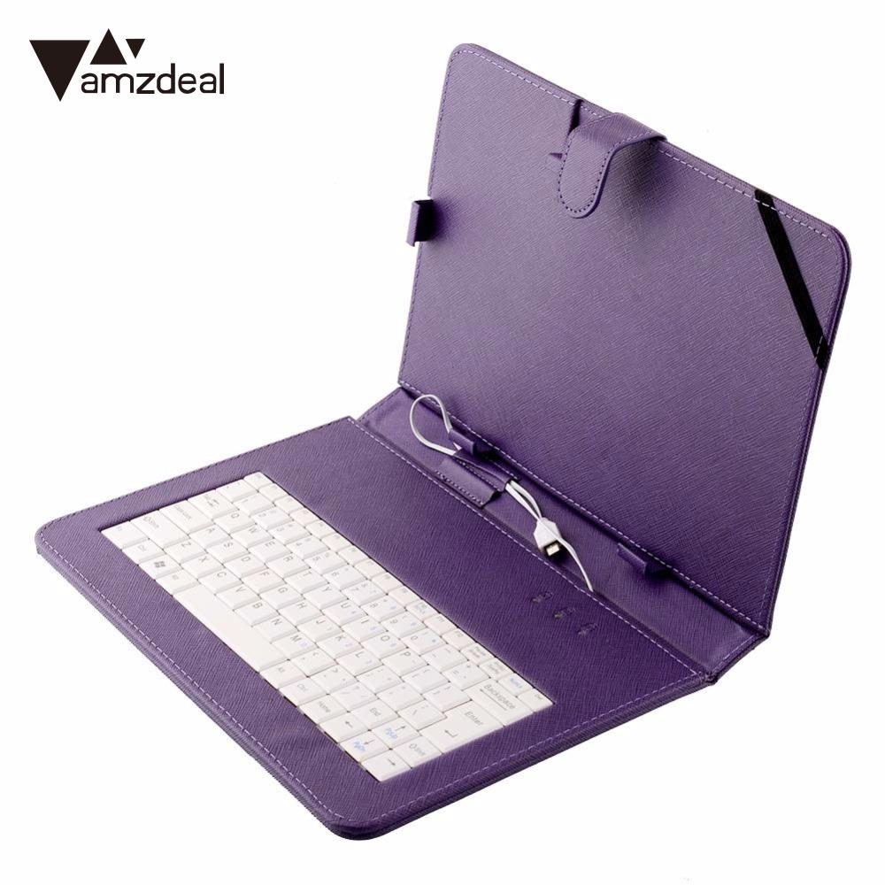 Amzdeal universal pu leather stand case cover usb keyboard bracket for 10 10 1 inch