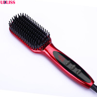 Pro LCD Heating Electric Ionic Fast Safe Hair Straightener Anti Static Ceramic Straightening Brush Ceramic Straightening