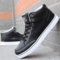 2016 новый Мужчины повседневная Обувь Мода белый черный Высокий Верх весна осень зима пу мужские Классические Кожаные Ботинки для мужчины