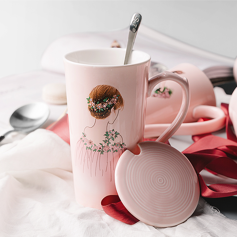 Pretty Coffee Mugs Australia Creative Pink Delicate Beautiful Girl Cup Cute  Ceramic Mug With Spoon Online