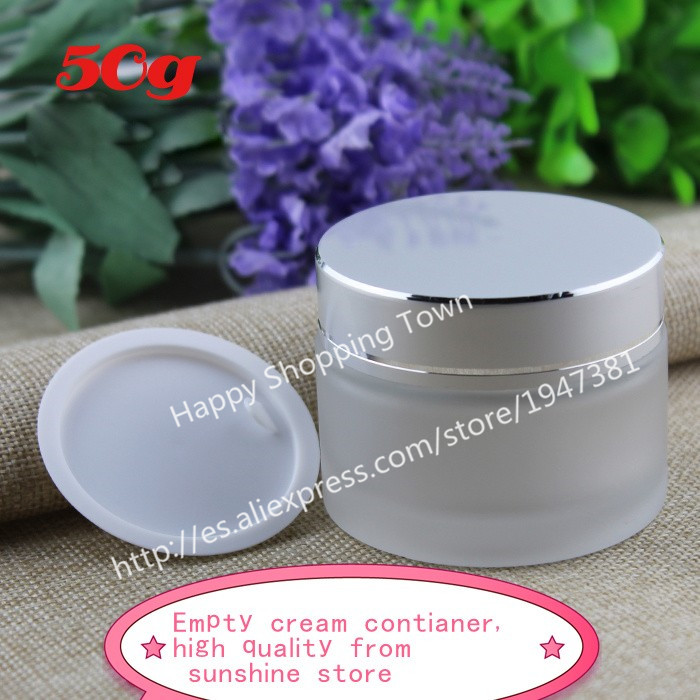 Free shipping 100pcs 50g frosted glass jars 50ml frost cream jars skin care cream bottles 1