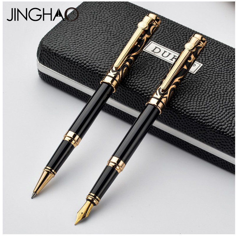 Luxury Blue/Red Gem Rollerball Pen and Fountain Pen Set Gold/Silver Clip 0.5mm Writing Stationery with an Original Gift Box