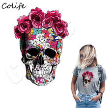 Skull Flower Iron On Patches For Clothing Summer Fabric Badge Stickers Clothes Jeans Washable Decoration Heat Transfer Parches(China)
