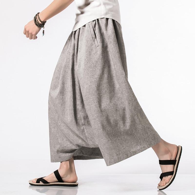 Casual Harem Pants Drop Crotch Pants Male Solid Loose Hip-hop Trousers Fashion Streetwear Cross Pants Men In Men's Cross Pants