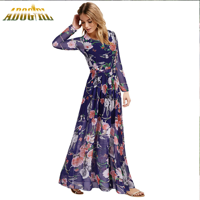 Cute Plus Size L-6XL Womens Chiffon Maxi Dresses Fashion Autumn Bohemian  Long Sleeve Party Holiday Wedding Beach Ladies Dress 5bcef92032cc
