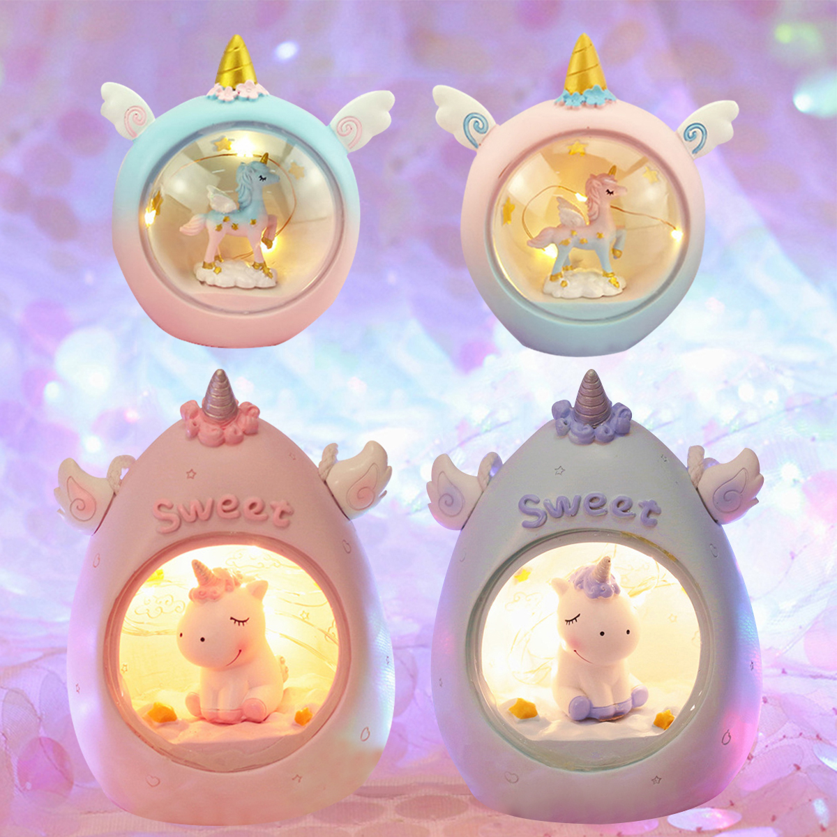 LED Cartoon Unicorn Night Light Baby Nursery Lamps Table Decorative Light Children Kids Toys Birthday Xmas Gift Drop Shipping