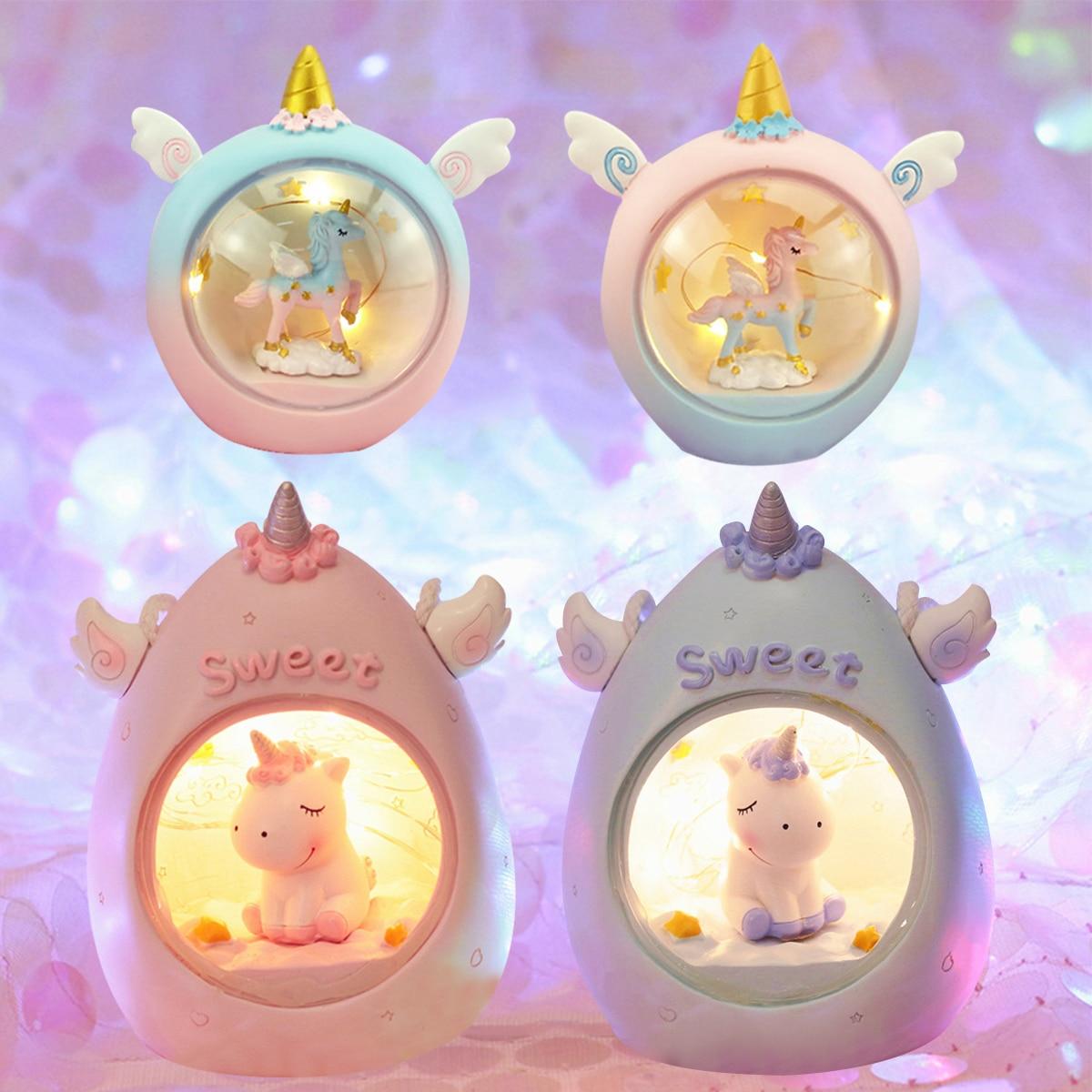 LED Cartoon Unicorn Night Light Baby Nursery Lamps Table Decorative Light Children Kids Toys Birthday Xmas Gift Drop Shipping