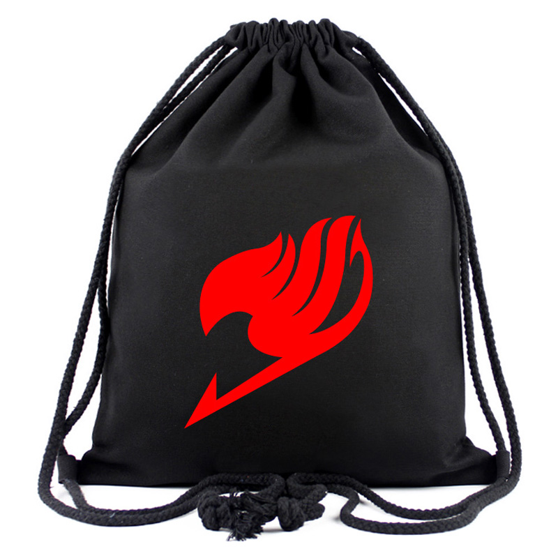 Anime FAIRY TAIL Drawstring Bag Black String Backpack Travel Rucksack For Men Women's Gift Money Bag