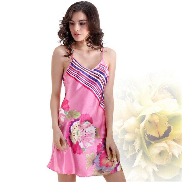 Satin Silk Nightgown Floral Print Chemise Women Silk Nightwear Pink ...