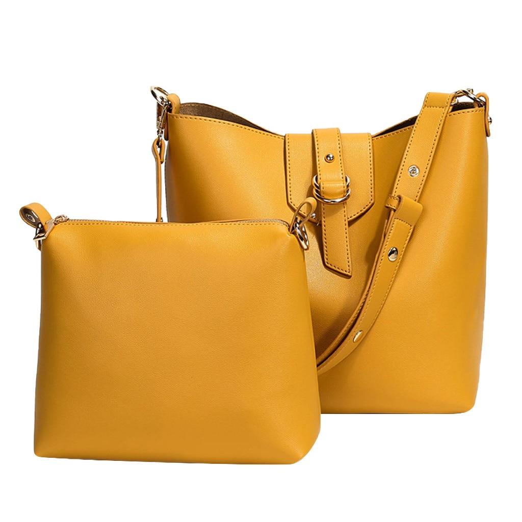 Shoulder-Bag Handbags Totes Messenger Large-Capacity Yellow Waterproof Solid-Color Portable