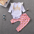 Retail 2016 New Infant girls cotton suit The princess lace sleeve gold dot trousers 2pcs times