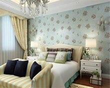 beibehang High - end idyllic non woven fabrics beautiful wallpaper bedroom living room television wall papel de parede behang