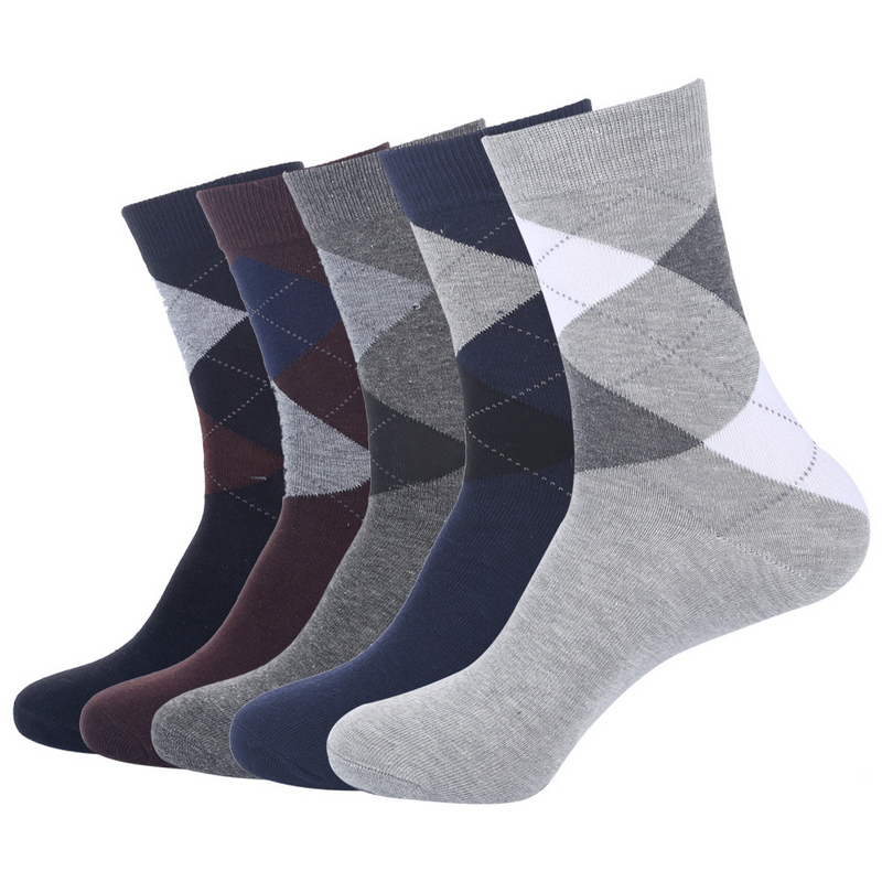 US7-10 High Quality Autumn Winter Men Business Cotton Socks Male Diamond Lattice Long Socks 5pairs/lot