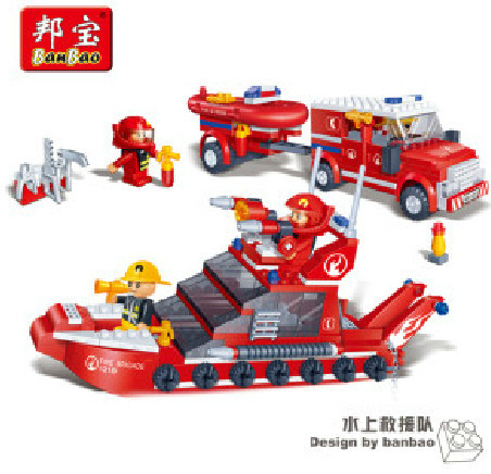 Banbao model building kits compatible with lego city fire 1007 3D blocks Educational model & building toys hobbies for children