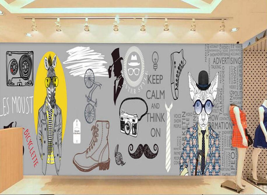 custom modern wallpaper trendy clothing 3d cartoon murals for