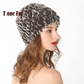 Women Genuine Knitted Rex Rabbit Fur Hats Natural Stripe Rex Rabbit Fur Caps lady winter warm Headwear free shipping FP536