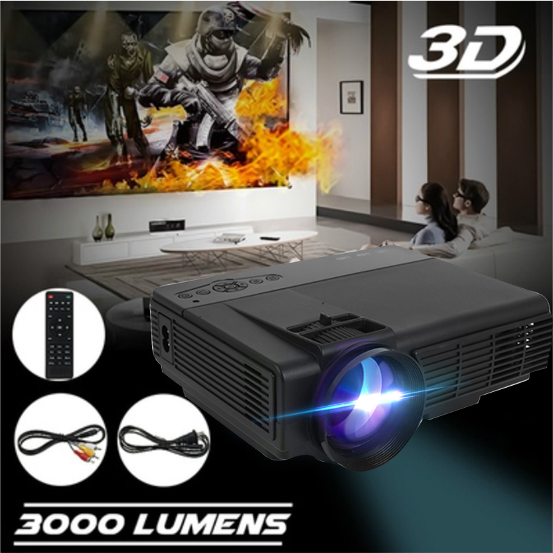 Portable 1080 P Full HD 3000 Lumens Projector Home Theater HDMI/USB/AV/VGA/SD Video Projector Multimedia roxdia men boots man shoes genuine leather ankle winter snow warm short plush lace up black blue plus size 39 46 rxm1001