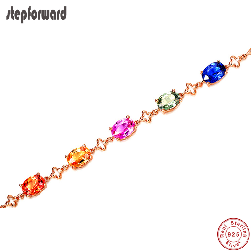 High Quality Beautiful Luxurious Korean Style Rose Gold Colorful Zircon Stone 925 Sterling Silver Bracelet For Girlfriend