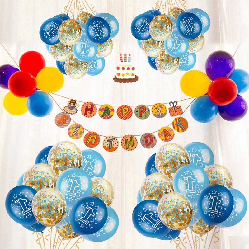 15pcs/set Round 12 Inches Latex Number Balloons for Boys Baby Girls Baby 1 Year Old First Birthday Celebration Kids Gift Toys Щипцы