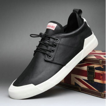High quality Leather Fashion All black Sneakers Men Zapatos Hombre Men Casual Flats Shoes A52