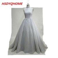 HSDYQHOME Silver glitter evening dress 2017 Newest Bronzing net fabric high  neck sleeveless chapel train luxury 8e25b1e3da40