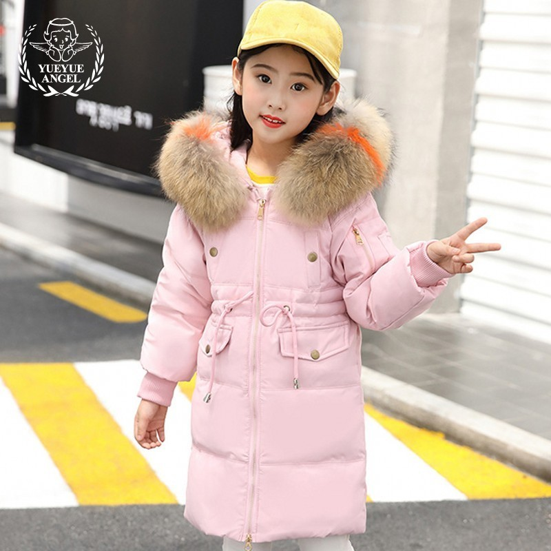 Winter Baby Girl Clothes Warm Children Parkas Zipper Hooded Coveralls Long Solid Pink Black Down Jacket For Girl Fur Girls Coat fashion children winter coat long down jacket for girl long parkas kids hooded color raccoon fur collar coat zipper outerwear
