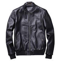 2018 Autumn Fashion Real Leather Jacket Men Classic Bomber Style Motorcy Genuine Leather Jacket Men Black Sheepskin Jacket New