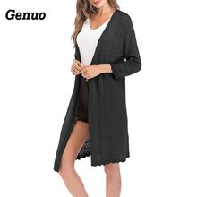 Genuo Casual Women Knitted Cardigan Long Sleeve Solid Color Sweater Cardigans Coat Elegant Spring Autumn Tops