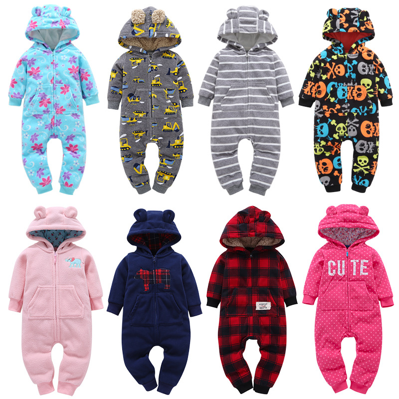 цена Newborn Baby Rompers 2018 Winter Boys Girls Clothes Warm Zipper Romper Knitted Hoodied Animal Overall jumusuits