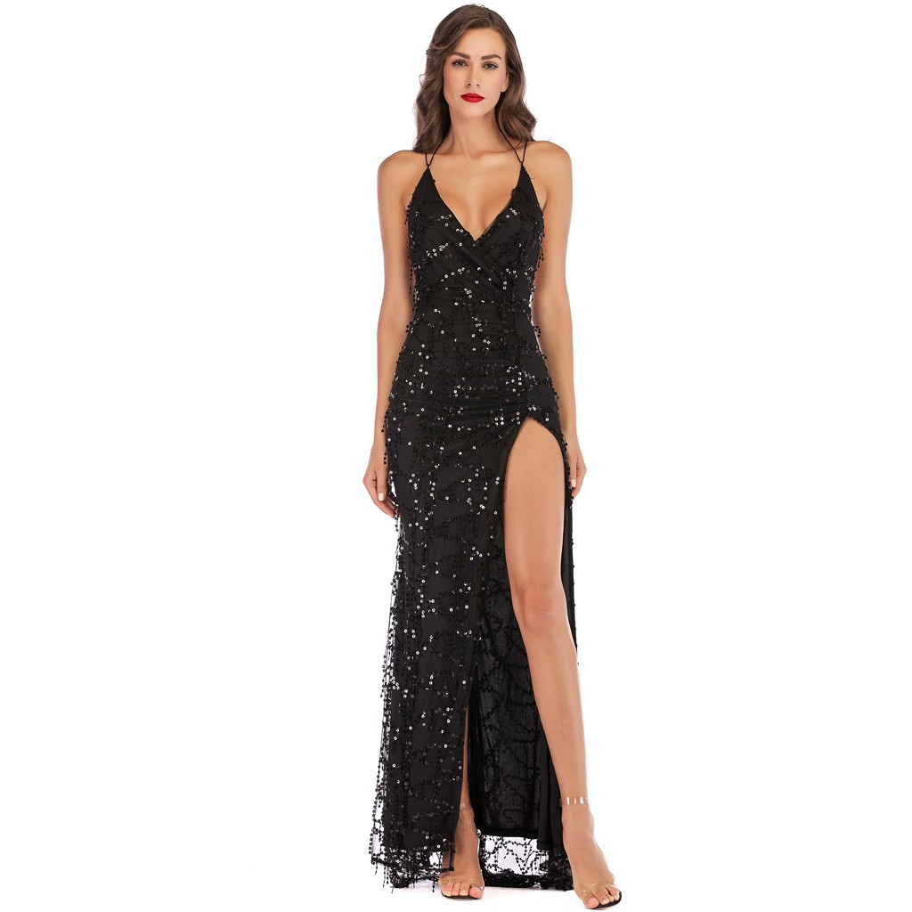 vestido de mujer Sexy Women V Neck Maxi Sequin Halter Backless Split Cocktail Prom Gown Dress femme robe платье 2021