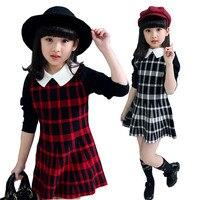 Jeunes Filles Vêtements 2017 Printemps Automne Filles Robes Enfants Vêtements Plaid Princesse Robes Enfants Robe pour les Filles vêtements