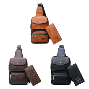 Image 3 - JEEP BULUO Männer Brust Tasche 2 stücke Set Hohe Qualität Split Leder Unisex Crossbody Sling Tasche Für iPad Große Größe mann der Reisetasche Marke