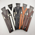 free shipping High quality Brown and black  braces 25mm width mens/women pu leather  suspenders  for men 120cm