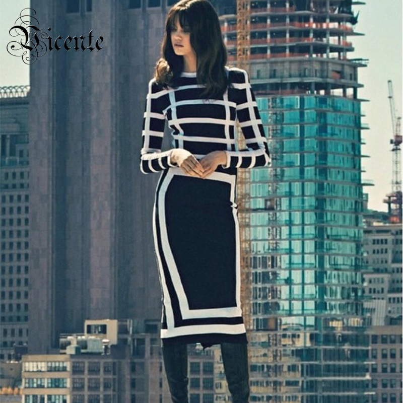 Out Of Size Clearance Sale! Luxury Fashion B*main Black and White Grid Patchwork Long Sleeves HL Bandage Dress