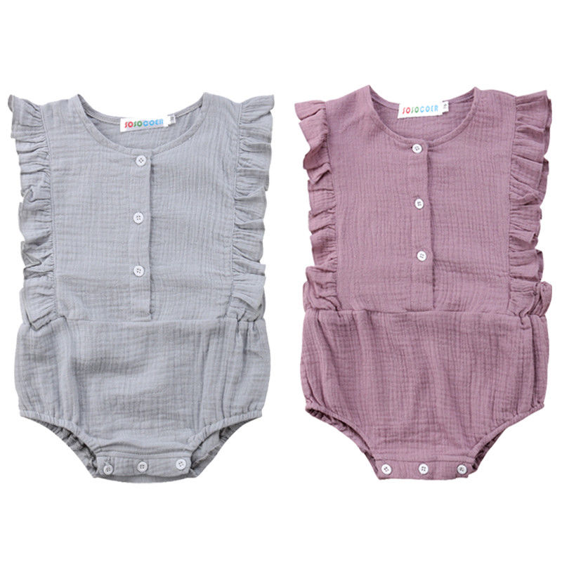 Newborn Baby Girl Cotton Ruffle Sleeveless   Romper   Jumpsuit Casual Outfit Clothes