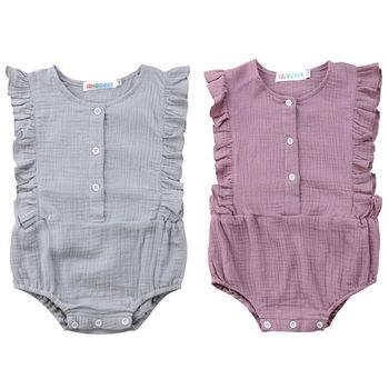 7d3d09ef49 Recién Nacido bebé niña algodón volante sin mangas mameluco mono ropa Casual