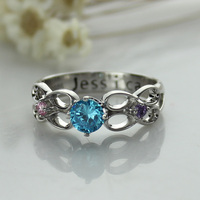 Personalized Secret Message Infinity Ring Engraved Birthstone Ring Silver Hand Stamped Ring Birthstone Valentine's Day Jewelry